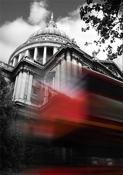 St Pauls Cathedral and a London Bus Framed Mounted Print by Jonathan Pankhurst