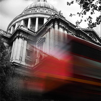 Buy canvas prints of St Pauls Cathedral and a London Bus by Jonathan Pankhurst