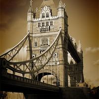 Buy canvas prints of Tower Bridge Sepia (1) by Jon Pankhurst