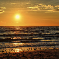 Buy canvas prints of Sunset on the Beach. by Annabelle Ward