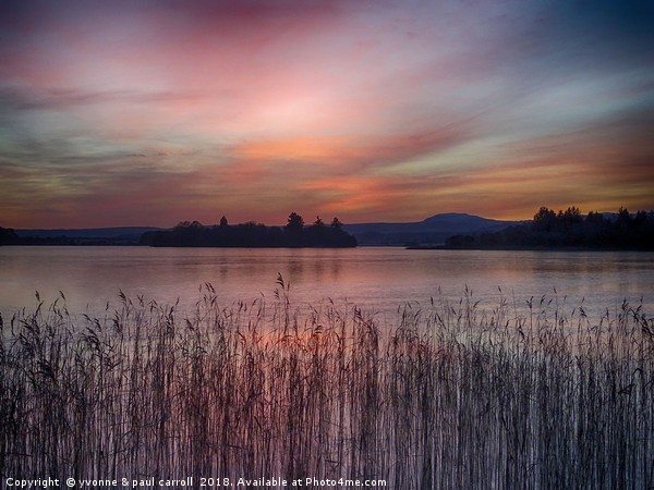 Sunset over Lake of Menteith Canvas print by yvonne & paul carroll
