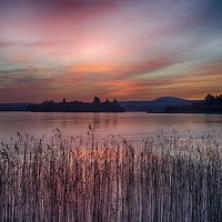 Buy canvas prints of Sunset over Lake of Menteith by yvonne & paul carroll