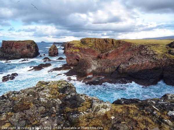 Cliffs at Eshaness, mainland Shetland Canvas print by yvonne & paul carroll