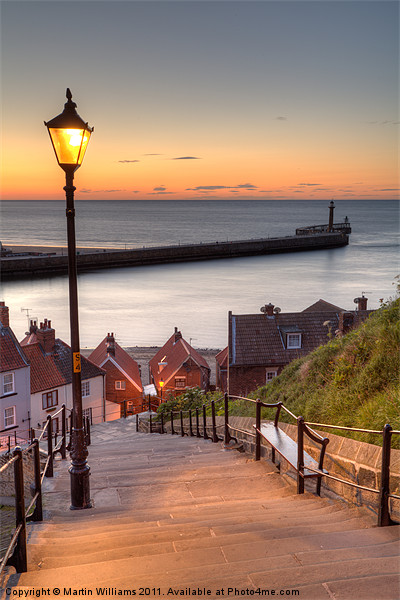 Whitby Steps - Orange Glow Framed Mounted Print by Martin Williams