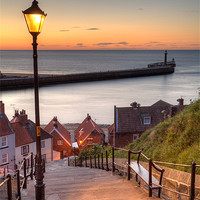 Buy canvas prints of Whitby Steps - Orange Glow by Martin Williams