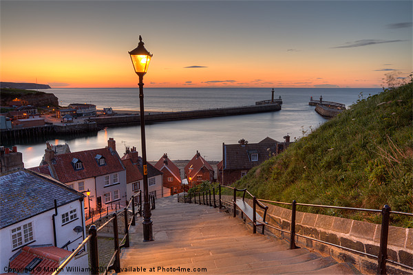 Whitby Steps - Orange Glow Landscape Framed Mounted Print by Martin Williams