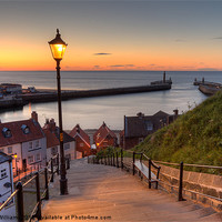 Buy canvas prints of Whitby Steps - Orange Glow Landscape by Martin Williams