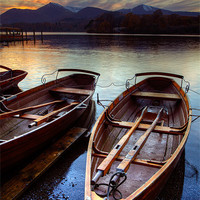 Buy canvas prints of Derwent Water Sunset by Martin Williams