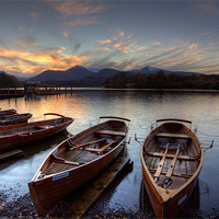 Buy canvas prints of Derwent Water Rowing Boats by Martin Williams