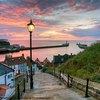Buy canvas prints of Whitby, 199 Steps, Pink Glow. by Martin Williams