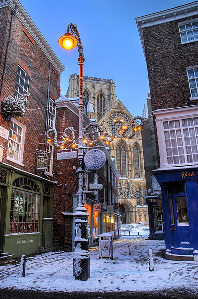 York Minster at Christmas, Petergate Street Print by Martin Williams
