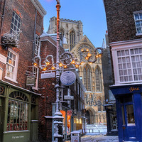 Buy canvas prints of York Minster at Christmas, Petergate Street by Martin Williams