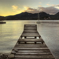 Buy canvas prints of Lake Maggiore jetty, Italy by Martin Williams
