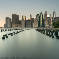 Buy canvas prints of New York skyline viewed from Old Pier 1 Brooklyn by Martin Williams