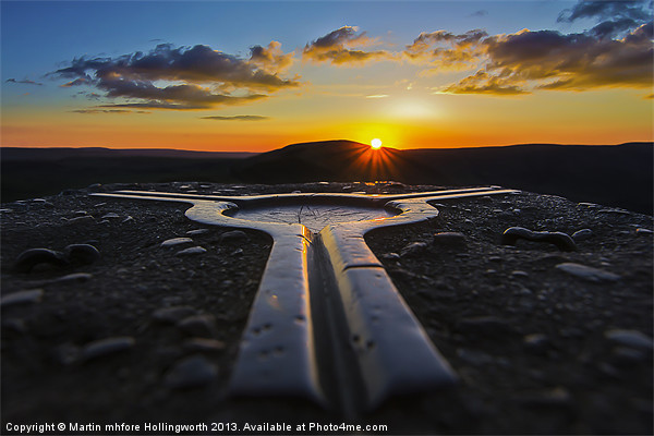 Mam Tor, Trigpoint Sunset Canvas print by mhfore Photography