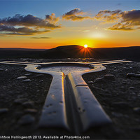 Buy canvas prints of Mam Tor, Trigpoint Sunset by mhfore Photography
