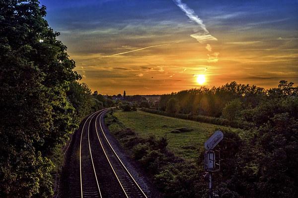 Railway at Hungerford, Berkshire, England, UK Print by Mark Llewellyn
