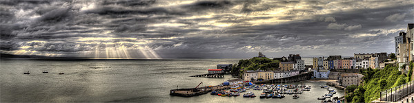 Tenby Harbour Panoramic Canvas print by Simon West