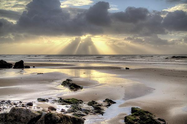 Amroth beach sunrise 2 Canvas print by Simon West