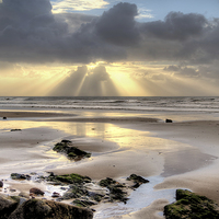 Buy canvas prints of Amroth beach sunrise 2 by Simon West