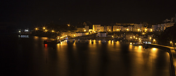 Tenby Harbour at Night Canvas print by Simon West