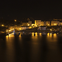 Buy canvas prints of Tenby Harbour at Night by Simon West