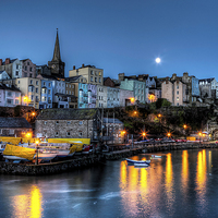 Buy canvas prints of Tenby Harbour Moonlit by Simon West