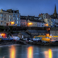 Buy canvas prints of Tenby Harbour Moonlit Panoramic by Simon West