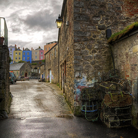 Buy canvas prints of Tenby Harbour Alleyways by Simon West