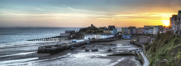 Tenby Harbour Sunrise Panoramic Canvas print by Simon West