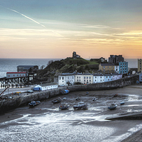 Buy canvas prints of  Tenby Harbour Sunrise Panoramic by Simon West