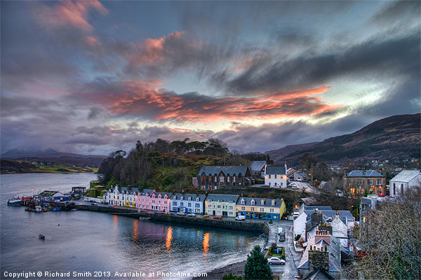 Sunset colour over Portree Canvas Print by Richard Smith