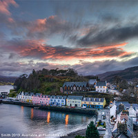 Buy canvas prints of Sunset colour over Portree by Richard Smith