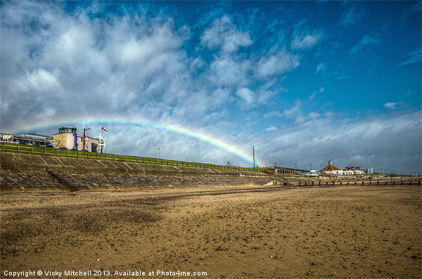 Rainbow at Aberdeen Beach Canvas print by Vicky Mitchell