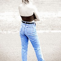 Buy canvas prints of Blue jeans by Mark Cake