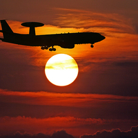 Buy canvas prints of  Awacs Sunset by Rachel & Martin Pics