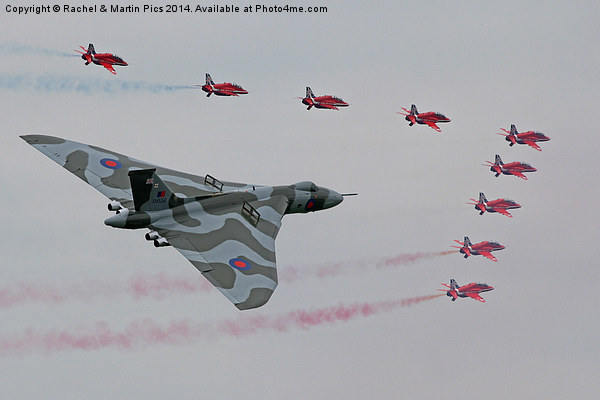 Vulcan and red arrows flypast Canvas print by Rachel & Martin Pics