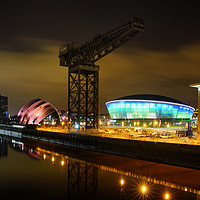 Buy canvas prints of Clydeport, Glasgow at night by J C