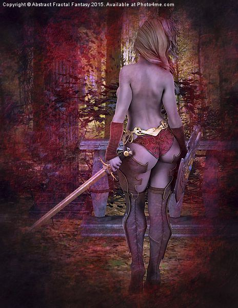 It's Not my Time - Fantasy nude warrior girl Canvas print by Abstract Fractal Fantasy