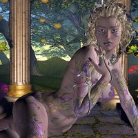 Buy canvas prints of  Sexy nude fantasy tattoo girl by Abstract Fractal Fantasy