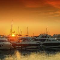 Buy canvas prints of Marina Sunset by Nigel Hamer
