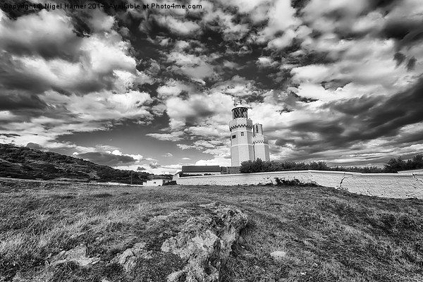 St Catherines Lighthouse BW Canvas print by Nigel Hamer