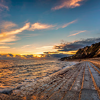 Buy canvas prints of Bonchurch Seawall Sunset by Wight Landscapes
