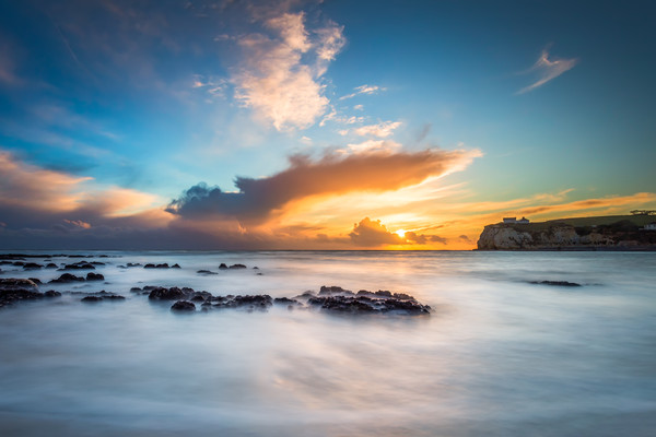 Freshwater Bay Beach Sunset Canvas print by Wight Landscapes