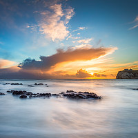 Buy canvas prints of Freshwater Bay Beach Sunset by Wight Landscapes