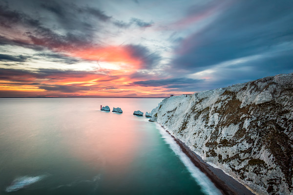 The Needles Sunset LE Framed Mounted Print by Wight Landscapes