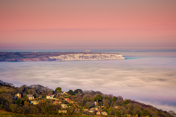 Fog Over The Bay Print by Wight Landscapes
