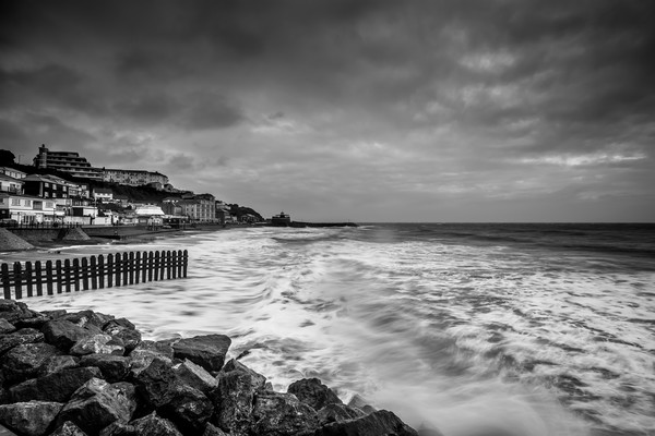 Ventnor Beach Isle Of Wight BW Canvas print by Wight Landscapes