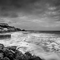 Buy canvas prints of Ventnor Beach Isle Of Wight BW by Wight Landscapes