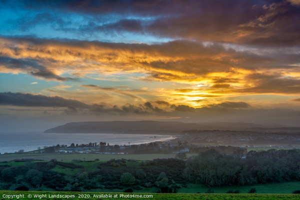 Sandown Sunset Isle Of Wight Print by Wight Landscapes